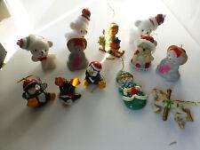 vintage christmas tree ornament 3 cat bells, 3 bears, snowmen, 3 penguins 12pcs