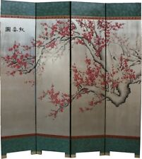 Oriental Screen - Cherry Blossom on Silver Background Room Divider (SN4-BLSMS)