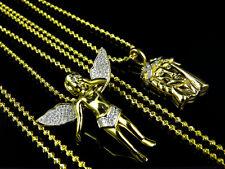 10k Yellow Gold Finish Mens Ladies Diamond Jesus Angel Pendant Charm Chain Combo