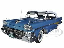 1958 FORD FAIRLANE 500 CLOSED CONVERTIBLE BLUE / WHITE 1/18 MODEL SUNSTAR 5282