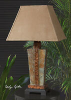 "MISSION 29"" SLATE STONE TABLE LAMP HAMMERED COPPER ACCENTS BRUSHED SUEDE SHADE"