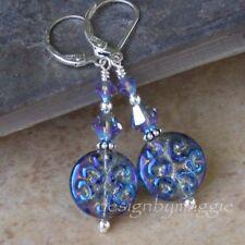 Handmade Earrings Czech Glass Beads Blue Crystal Leverback Sterling Silver