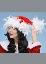 Womens Deluxe Christmas Feather Santa Hat