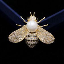Women Bumble Bee Crystal Brooch Lovely Rhinestone Pearl Pin Badge Jewellery Gift