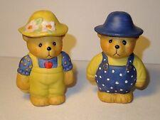 Vintage Gardening Sunhat Bears Ceramic Salt & Pepper Shaker Set