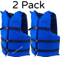 Adult Life Jacket Preserver 2-Pack Blue USCG Type III Fishing Boating PFD Vest