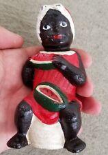 Vintage Cast Iron Bank Black Woman On Pot W Watermelon EXC