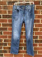 Express Bootcut Distressed Jeans Size 6 Medium Blue Denim Pants