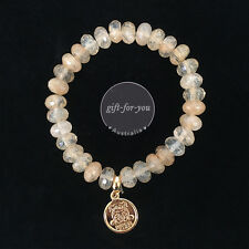 NEW BOWERHAUS Lucky Bracelet 24K Gold Plated Coins Natural Stone Crystal Design