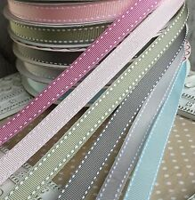 Saddle Stitch Ribbon Vintage Colours Grey Green 13mm x 1M Grosgrain Berties Bows