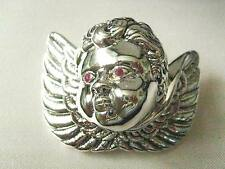 Sterling Silver and Ruby Cherub Angel Pendant Christmas Tree Memorial Decoration