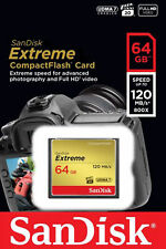 64GB SanDisk Extreme CF Compact Flash Memory Card 85MB/s Write 120MB/s Read