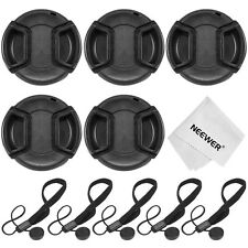 Neewer 5 Center Pinch Lens Cap(52mm)+5Cap Keeper Leash+Cleaning Cloth f NIKON