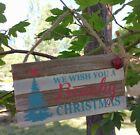New Beach theme We wish you a Beachy Christmas wood Sign Christmas Ornament  NWT
