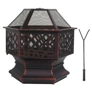 Outdoor Steel Fire Pit Brazier Stove Patio Heater BBQ Charcoal Grill Warming UK