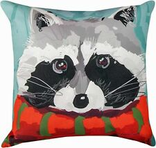 "DECORATIVE PILLOWS - ""NORTH WOODS"" RACCOON PILLOW - 18"" SQUARE"