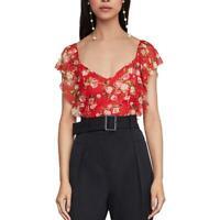 BCBGMAXAZRIA Womens Red Floral Lace Ruffle Bodysuit Top XXS BHFO 3233