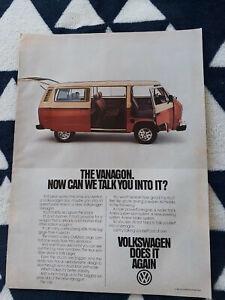 1981 Volkswagen VW Vanagon USA Original Magazine Advertiseent 1