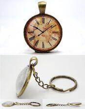 Vintage World Map Clock - Vintage Antique Bronze Tone Glass Dome Keyring