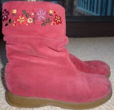 Munchkin Girls Red Leather Suede Embroidered Flowers Boots Size 12 M
