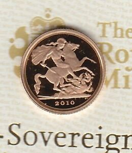 BOXED 2010 GOLD PROOF QUARTER SOVEREIGN WITH CERTIFICATE.
