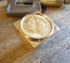Chevalière or carrée massive avec pièce 20 Francs Napoléon