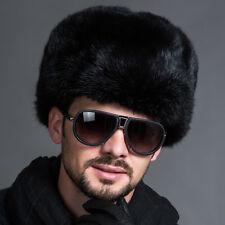 Men Warm Fur&Lamb Leather Cap Raccoon Russian Ushanka Cossack Trapper Hats Hot