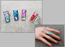 Large Summer Beach Floral Print glass Rectangular Silver Plated Adjustable Ring