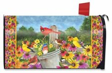 Spring Gathering Cardinal Magnetic Mailbox Cover Floral Birds Standard