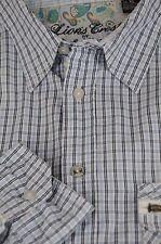 English Laundry Leones Escudo Hombre Azul Blanco Geo Camisa Algodón Ocasional XL
