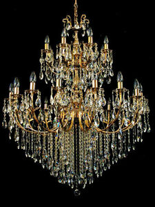 LARGEST CHANDELIER ON EBAY 24 LIGHTS 3 FLOORS & FINE CRYSTALS GOLD EDITION