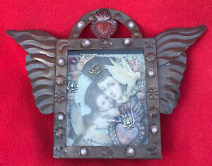 Mexican Folk Art Madonna & Child With Doves Of Peace 3-D Tin Nicho Shrine