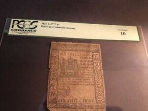 Delaware Colonial Currency May 2, 777 6 shillings  Very Good 10