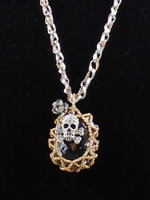 Betsey Johnson Two Tone THROWBACK TO VINTAGE Caged Stone Skull Necklace $65
