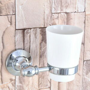 1 Ceramic Cup Wall Mounted Bathroom Silver Chrome Brass Toothbrush Holder 2ba791