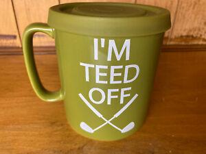 "The Old Pottery Co. ""I'M TEED OFF"" Golfers Stoneware Coffee Mug 15 oz GREEN cili"