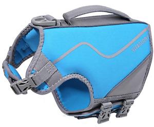 VIVAGLORY Large Dog Life Vest, Skin-Friendly Neoprene Life Jacket for Dogs Blue