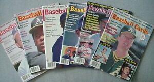 6 ISSUES OF BASEBALL CARDS MAGAZINE, 1989-90 (RICKEY HENDERSON, MARK McGWIRE CV+