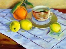 "Collectible Original Oil Painting of ""Orange, Lemon & Tea"", Still-life of Fruits"