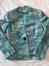 Jones Studio Turquoise Black Grey Abstract Single Button Blazer Size 6 Women's