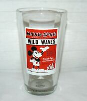 DISNEY STORE 14 oz MICKEY MOUSE WILD WAVES TALL CLEAR GLASS COLD TO WARM MUG CUP
