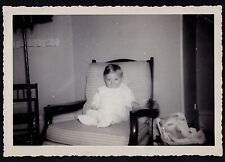 Vintage Antique Photograph Cute Little Baby Sitting in Chair in Retro Room