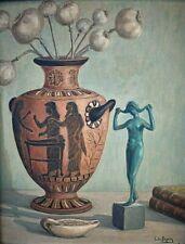 Tableau ancien Nature Morte aux fleurs de pavot et statue signé période Art Déco