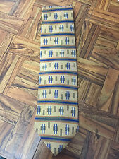 """LOUIS FERAUD 100% Imported Silk Made USA Blue Olive Gold Men's Tie 56"""" x 4"""""""