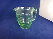 Vintage GREEN Depression Glass Pitcher ~THUMBPRINT?~