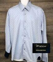 MACEOO Mens Blue Geometric Long Sleeve Button Front Shirt Flip Cuffs (Size6) XXL
