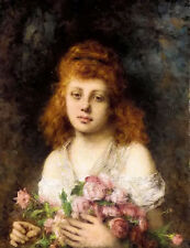 Oil painting alexeivich harlamoff - auburn haired beauty with bouqet of roses @@
