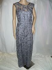BETSEY&ADAM GRAY LACE Sequined Full Length Evening Dress Gown  Size: 6 $249 NEW
