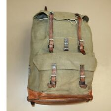 Swiss Vintage 1963-Bulach Salt and Pepper Leather and Canvas Rucksack Backpack