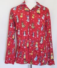 Nick & Nora Christmas Dogs Pajama Top Long Sleeve Flannel Antlers Santa Hat Red